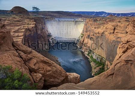 lake Powell dam national park Page Arizona - stock photo