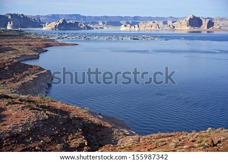 Lake Powell Landscape in Northern Arizona, USA. Colorado River Largest Reservoir. City of Page, AZ, USA. Landscapes Photo Collection. - stock photo