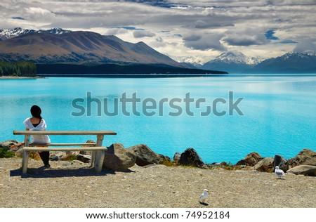Lake Pukaki and Mount Cook, Southern Alps, New Zealand - stock photo