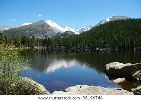 Lake, rocks, forests and Rocky Mountains, Colorado