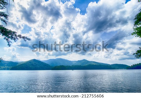 lake santeetlah in great smoky mountains in summer