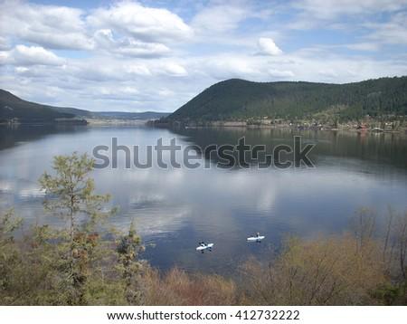Lake scenic Scout Island - stock photo