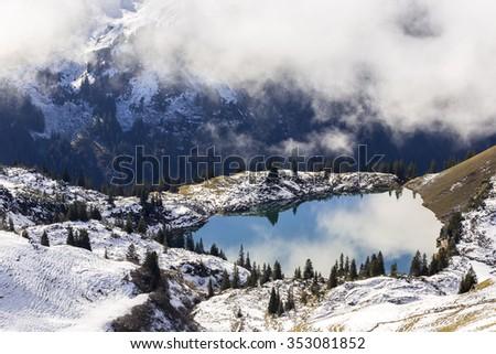 lake Seealpsee in the Bavarian Alps - stock photo