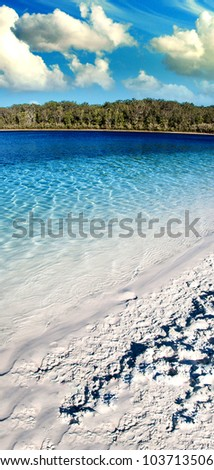 Lake Shapes inside Fraser Island, Australia - stock photo