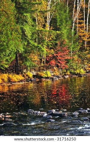 Lake shore of fall forest with colorful reflections - stock photo