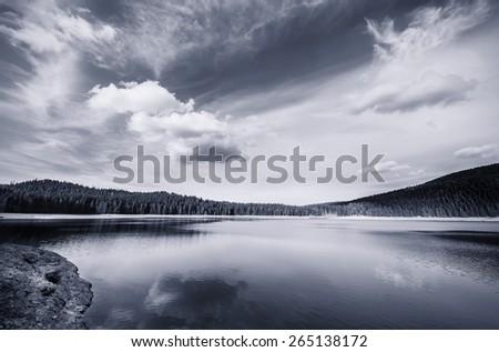 Lake, storm - stock photo