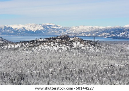 Lake Tahoe California Covered in Snow - stock photo