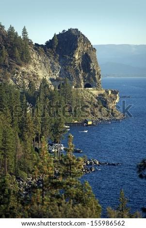 Lake Tahoe East Shore with Road Tunnels. Lake Tahoe Landscape, California, USA. - stock photo