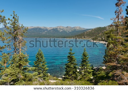 Lake Tahoe from Memorial Point, Lake Tahoe State Park, New Washoe City, Nevada - stock photo