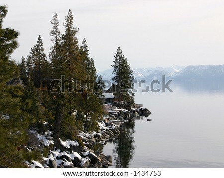 Lake Tahoe on a hazy afternoon - stock photo
