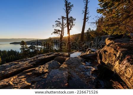 Lake Tahoe sunrise, Photos Taken in Lake Tahoe Area - stock photo