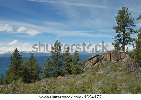 Lake Tahoe View with Trees and Scrub Brush - stock photo