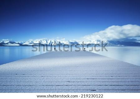 Lake Tahoe Winter Pier - stock photo