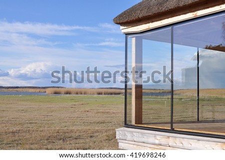 Lake Takern, northern Europe's foremost bird lake with a nature room. - stock photo