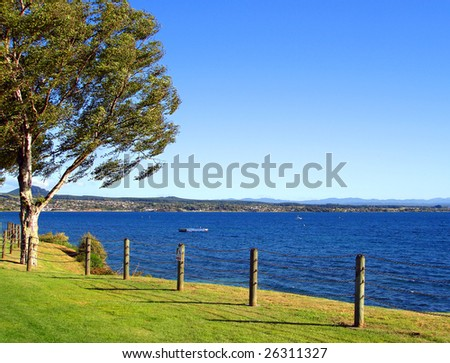 Lake Taupo in the Evening Light, New Zealand - stock photo