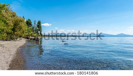 Lake Taupo, North Island - New Zealand - stock photo