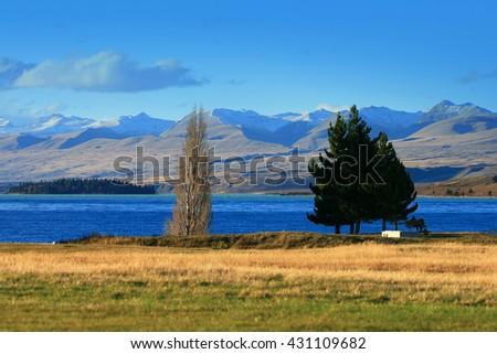 Lake Tekapo and Church of the Good Shepherd, New Zealand.Toned image  - stock photo