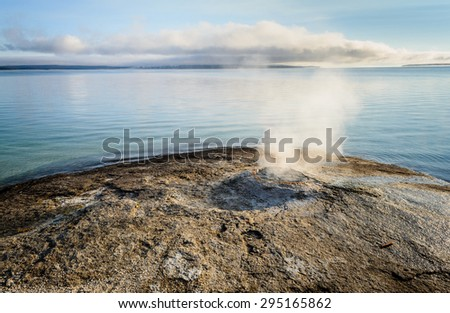 Lake Thermal Feature at Yellow Stone National Park - stock photo