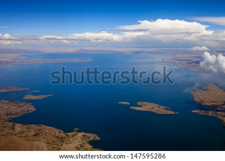 Lake Titicaca, top view - stock photo