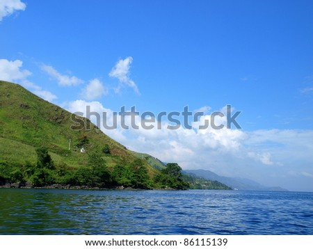 Lake Toba and View nearby - stock photo