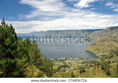 Lake toba or danau toba in North Sumatra, Indonesia - stock photo