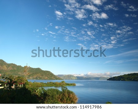Lake Toba view from Muara - Balige - stock photo