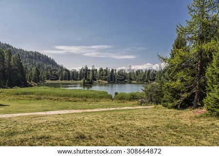 Lake Tret, Italy - Mountains with Trees and Trail