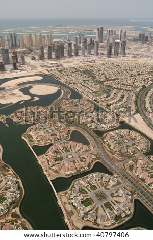 Lake view And Waterfront Developments In Dubai - stock photo
