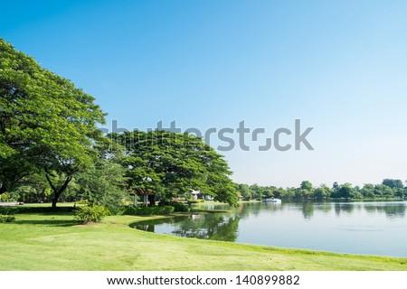 Lake view at Suan Luang Rama 9 Park, Thailand - stock photo
