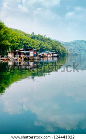 lake view for fishing - stock photo