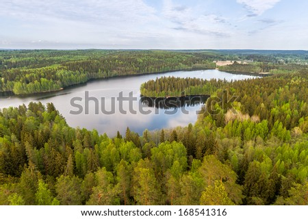 Lake view from the lookout tower of Aulanko in Finland - stock photo
