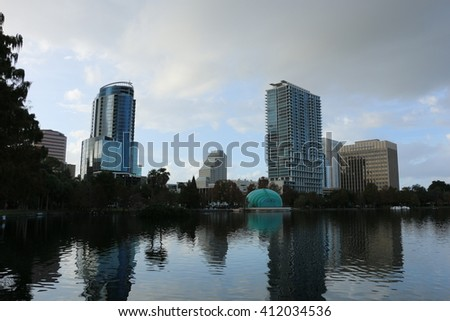 Lake view/Lake Eola//Please visit my portfolio for more photos like this! - stock photo