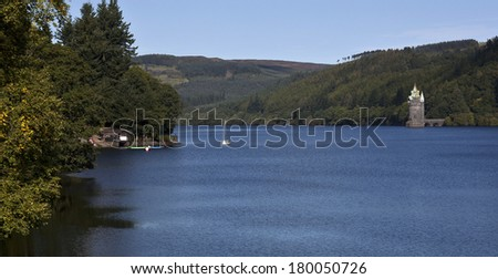 Lake Vyrnwy in Wales. - stock photo