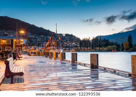 Lake Wakatipu at twilight, Queenstown, New Zealand - stock photo