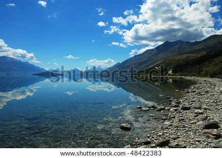 Lake Wakatipu, New Zealand - stock photo
