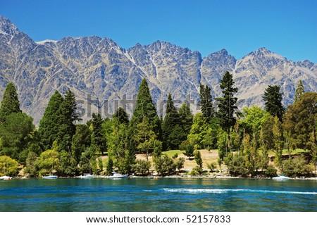 Lake Wakatipu, New Zealand - stock photo