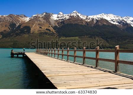 Lake Wakatipu Pier in Glenorchy, South Island, New Zealand - stock photo