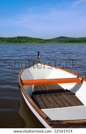 Lake with boat in Hungary - stock photo