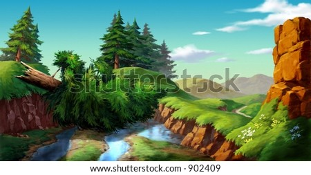 Lake with Fallen Tree - stock photo