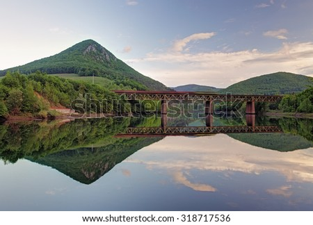 Lake with forest reflection, Ruzin dam, Slovakia - stock photo