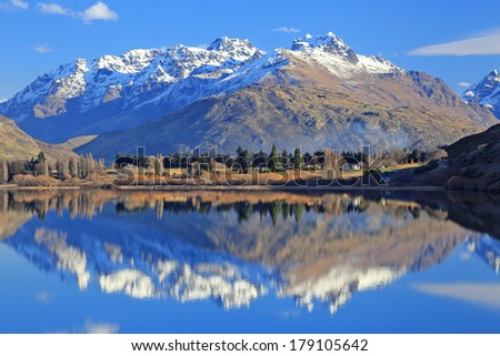 Lake  with snow mountain reflections in the south Island, New Zealand