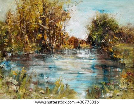 Lake with trees and bushes, oil painting artistic background