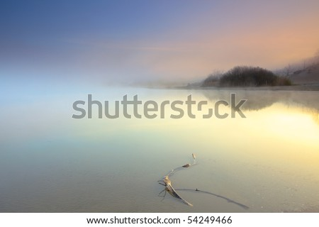Lake with wood in the mist at sunrise - stock photo