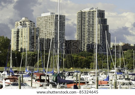 Lakefront skyline of Milwaukee near end of September - stock photo