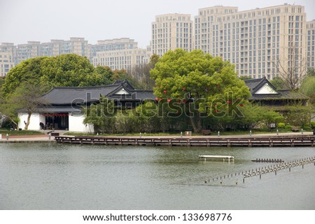 Lakes and ancient architecture china - stock photo