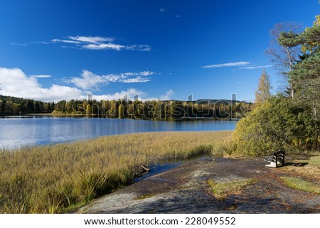 Lakes at Dikemark, Asker, Norway - stock photo