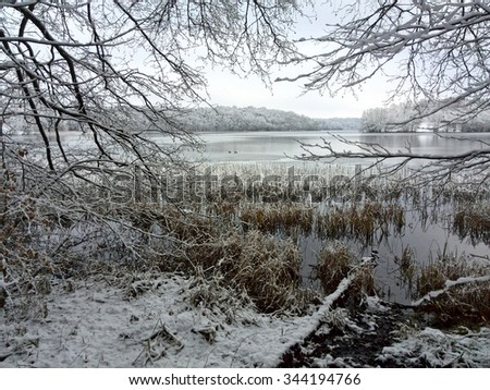 Lakeside in Winter - stock photo