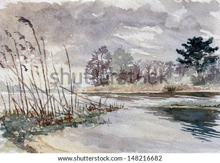 Lakeside Landscape, Watercolor Painting - stock photo