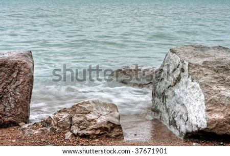 lakeside view in Grand Bend in Ontario - stock photo