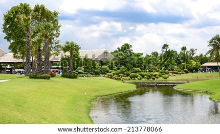 Lakeside View of an thailand Landscape Garden - stock photo